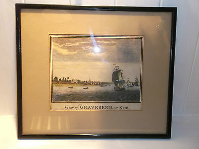 Antique Framed Maritime Coloured Engraving View Of Gravesend In Kent