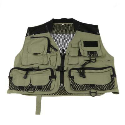 Outdoor Lightweight Mesh Vest For Fishing Hiking Multi-pocket Waistcoat Army