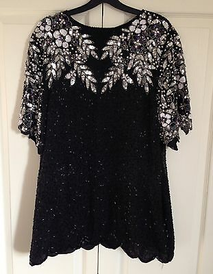 Vintage Embroidered Beaded Sequin Christmas Sparkly Embellished Top S M L