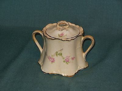 Vintage Pope - Gosser China Sugar Bowl With Lid (Pink Roses With Gold Pattern)