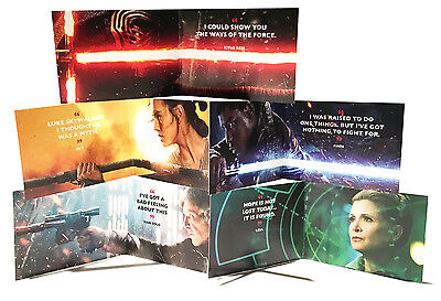 STAR WARS The Force Awakens 5 Card Promo FOLD OUT Set Kylo Ren Leia Han Finn Rey