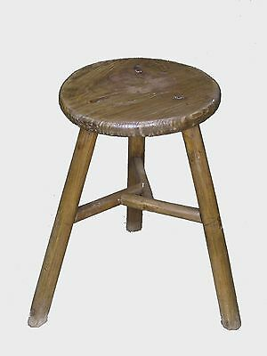 A Chinese Elm Wood Leg Bar Stool Chair Seat 20.5'' intertwined support beams
