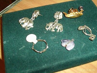 Cool Exotic Jewelry Lot Asian Elephants Sterling Ring Amethyst