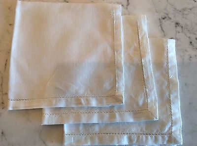 10 Vintage White IRISH LINEN Blank Hankies For Embroidery Applique or Lace Work