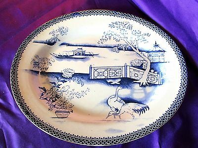 Antique Blue AND white  Platter,c-1850,s,T Tool ,Oriental Pattern,Clyde