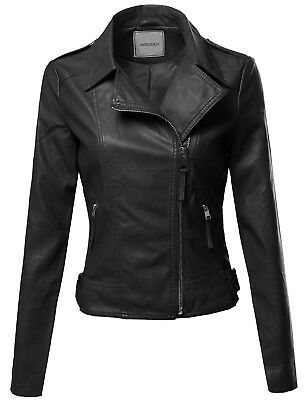 FashionOutfit Women's Classic Casual Cross-Over Moto Faux Leather Jacket Coat