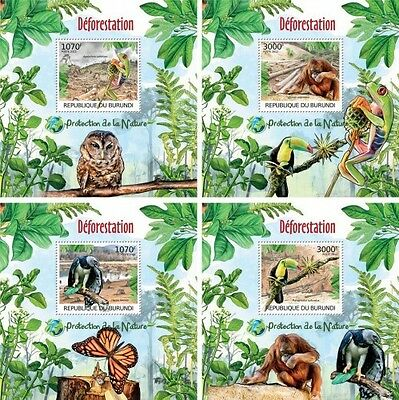 Z08 Imperforated BURdelux25 BURUNDI 2012 Deforestation 4 x s/s MNH