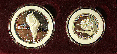 1986 Marshall Islands Proof Issue 2 Coin Set $1 & 1/2 Dollars .999 Silver Set