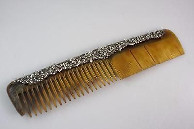 ART DECO RARE 1920's HANDCARVED COW HORN STERLING SILVER COMB MARKED