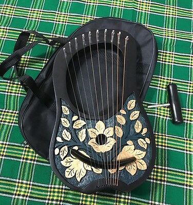 New Lyre Harp 10 Metal String Instruments Shesham Wood/Lyra Harp/Lyre Harpe/Case