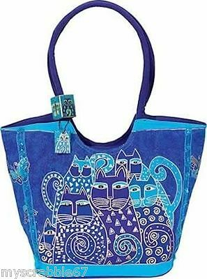CUTE! Laurel Burch Indigo Cats Large Scoop Bag / Purse Style LB412 NEW WITH TAGS