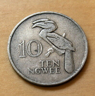 1968 Zambia 10 Ngwee Crowned Hornbill