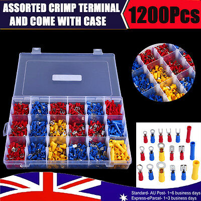 Electrical Wire Connector 1200pc Assorted Insulated Crimp Terminals Spade Set AU