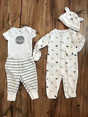 Carter's White Gray Unisex Baby Outfits Sheep, 3 Month