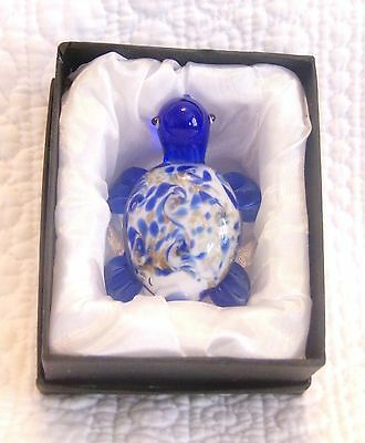 New Sea Turtle Murano Style Blue Glass Collectible Figurine Gift
