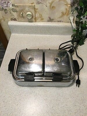 Chrome Art Deco Vintage Dominion Electric Twin Waffle Maker Iron Works 800 Watts