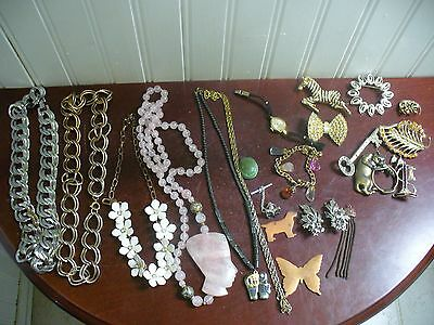 22 Pieces Junk Drawer Costume Jewelry Lot Broken Pieces AS IS Re-use Recycle Fix