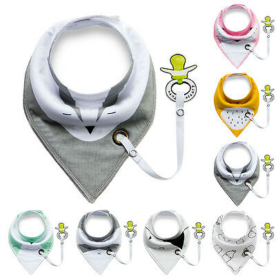 Baby Infant Toddler Triangular Cotton Bibs Saliva Towel with Pacifier Clip