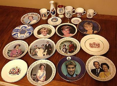 Royal Family Collectibles 21pc Lot Queen Elizabeth Prince Charles Princess Diana