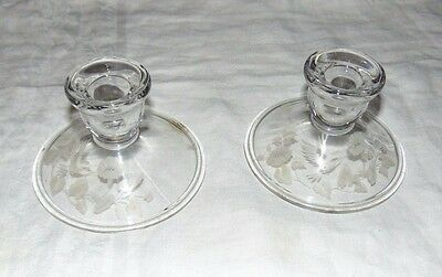 Vintage AVON Pair Glass Etched HUMMINGBIRD 24% Lead Crystal CANDLE HOLDERS