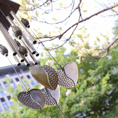 Metal 8 Tubes Heart Solid Wood Hanging Wind Chimes Windbell Home Yard Decor Gift