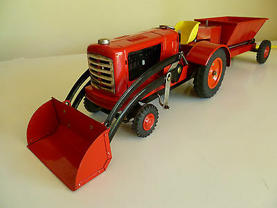 Tin Toy Tractor with Scoop and Dump Truckin in original box