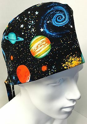 Planets Outer Space Medical Surgical Surgery OR Skull Scrub Hat Chemo Cap