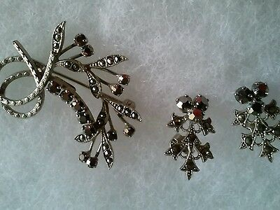 Vintage Sterling Silver Brooch And Pierced Earring Set With Black Stones Germany