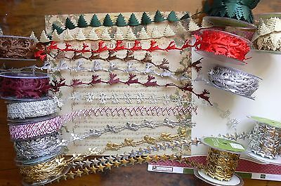 Satin CHRISTMAS Cut Outs - 16 Variations 20mm wide 1 Metre Length - MultiList