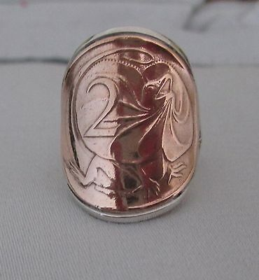 Australian 2 Cent Coin Frilled Neck Lizard Sterling Silver Coin Ring