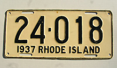 Vintage 1937 State of RHODE ISLAND License Plate Tag # 24-018 Expired Repainted