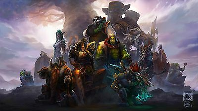 WOW World of Warcraft characters Silk Wall Poster/Wallpaper Printing 24X13 inch