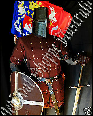 Brigandine, Coat Of Plates, Brown, 16g metal protection - LARGE Size (A85)