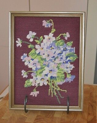 Vintage Flower Bouquet Framed Canvas Tapestry Deep Burgundy Background 32 x 25cm