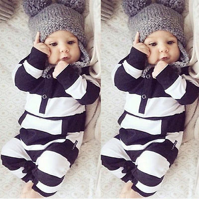 Newborn Infant Baby Boy Girl Kids Warm Romper Jumpsuit Bodysuit Clothes Outfit