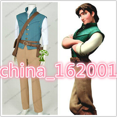 New! Movie Enchanted Tangled Rapunzel Prince Flynn Rider Cosplay Costume MM.2069