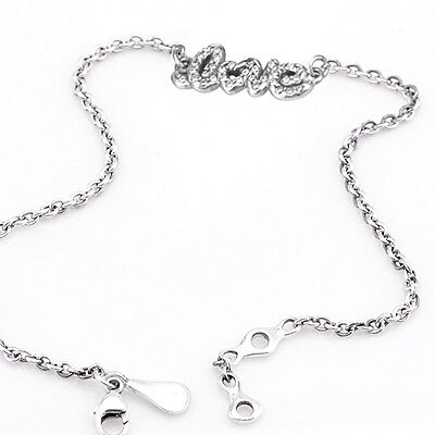 LOVE 925 Solid Sterling Silver White Pave Words Message Chain Stacking Bracelet