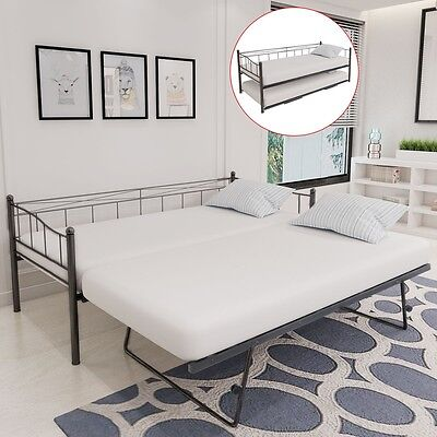 Multi-functional Day Bed Frame with Trundle Guest 180x200/90x200 cm Steel Black