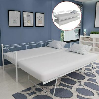 Multi-functional Day Bed Frame with Trundle Guest 180x200/90x200 cm Steel White