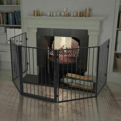 vidaXL Pet Fireplace Fence Steel Black Grill Safety Hearth Gate Guard Screen
