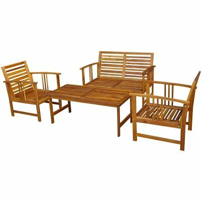 Four Piece Outdoor Garden Furniture Set 1 Table 1 Bench 2 Chairs Acacia Wood