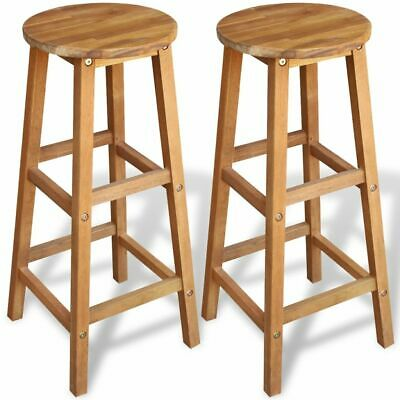 2 pcs Wooden Bar Stools Chair Breakfast Pub Kitchen Acacia Wood Weatherproof