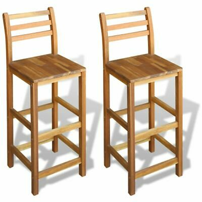 2 pcs Wooden Bar Stools Chair with Footrest Backrest Breakfast Pub Kitchen Cafes