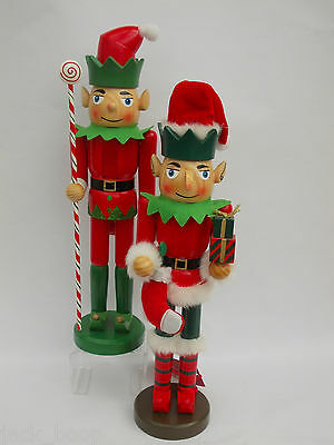 "PAIR 15"" (38cm)NUTCRACKER SANTAS HELPERS ELVES WOODEN CHRISTMAS REDUCED TO CLEAR"