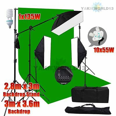 3425W Photo Studio Softbox Lighting Soft Box Boom Light Green Backdrop Stand Kit