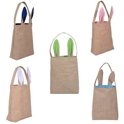 New Cotton Linen Easter Bunny Ears Basket Bag For Easter Gift Packing Bags