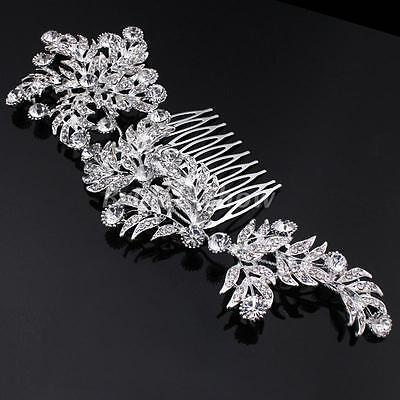 Luxury Crystal Bridal Hair Combs Diamante Large Floral Slide Clip Wedding Tiara