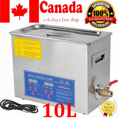 Stainless Steel 490W 10L Liter Industry Heated Ultrasonic Cleaner w Heater Timer