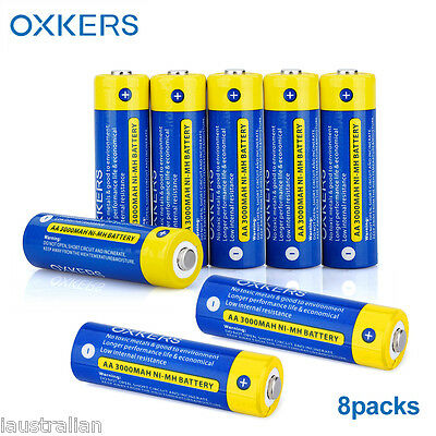 8x OXKERS BATTERIA RICARICABILE Ni-MH AA 1,2V 3000mAh Backup BATTERIA Battery IT