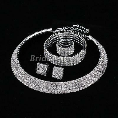 Silver Diamante Crystal Choker Necklace Earring Bracelet Ring Bridal Jewelry Set